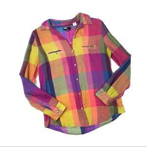BDG Multicolored Plaid Button Down Shirt S T480